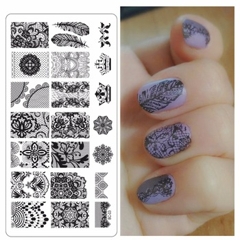 WUF 1 Pc New Stamp Polish Steel Lace Butterfly Flower Nail Art Templates Sexy Image Stainless DIY Nail Stamping Plates Nails