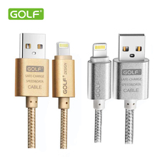 Original Golf Metal Braided Wire 1M 1.5M 2M 3M Sync Data Charger Cable for iPhone 5 5s 6 plus s ipad 4 5(China (Mainland))