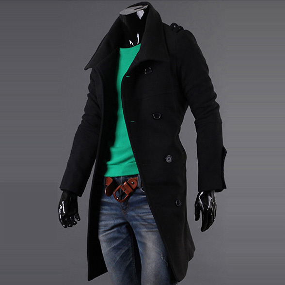Hot Sales ! New 2015 High Quality Double Breasted Trench Coat Men Wool Pea Coat Mens Fitted Pea Coat Duffle Coat Men Overcoat(China (Mainland))