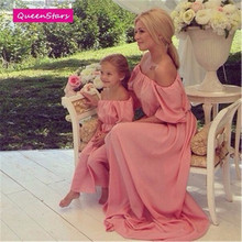 2016 Summer Family Matching Outfits Beach Maxi Long Dress Chiffon Women Kids Clothing Family Look Fitted Loose Off Shoulder