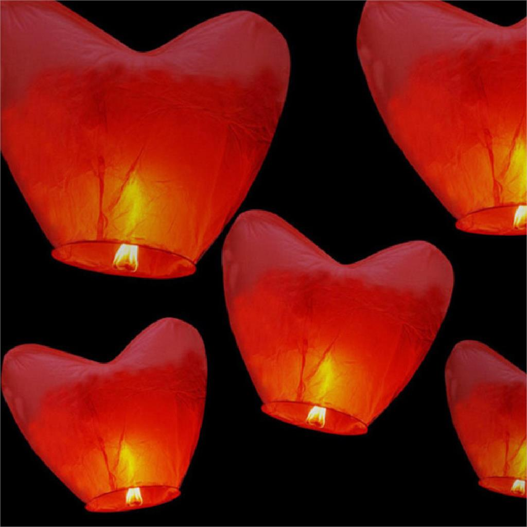 New Arrivals Suministros Fiestas Party 5 Pcs Heart Chinese Fire Flying Sky KongMing Floating Wish Lantern decoration mariage(China (Mainland))