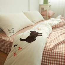 100% washed cotton 4 pieces cute kitten bedding sets bed sheets fitted style bedding brief Japanese style cat embroidery printed(China (Mainland))