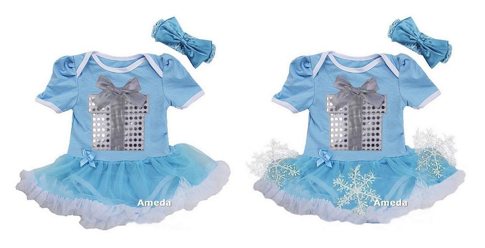 Xmas Baby Girl Snowflake , Silver Gift Box Light Blue Short Sleeves Bodysuit Tutu Party Dress 0-18M(Hong Kong)