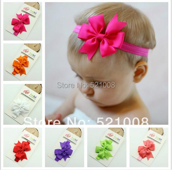 Chic Girl Hair Bow Headband DIY Satin Ribbon Big Bow Elastic Headband for Baby Newborn Infant Toddler Hair Bands 15pcs Free(China (Mainland))