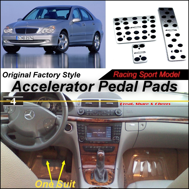 Car Accelerator Pedal Pad / Cover of Factory Model Design / Drill Type Install For Mercedes Benz C Class MB W203 2000~2007 AT(China (Mainland))