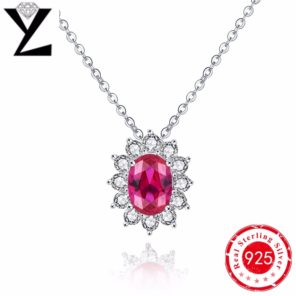AAA CZ Diamond Jewelry Silver Stamped Garnet Fashion Jewelry Red Crystal Necklace silver sterling 925 pendant & necklace women(China (Mainland))