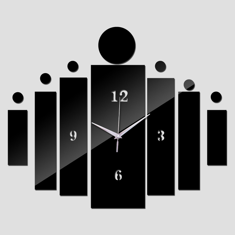 2015 3d espelho acrílico relógio de parede design moderno decoração de casa diy cristal relógios crianças decalque frete grátis