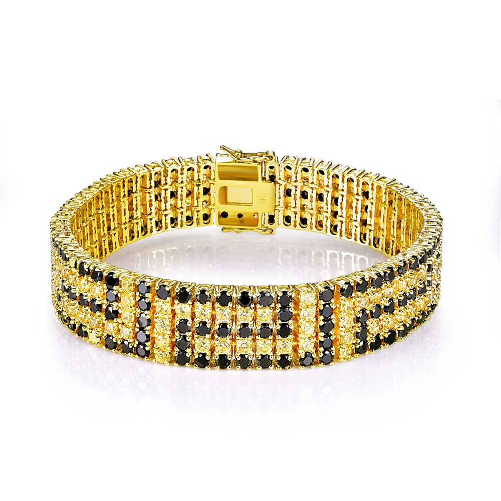 CQueen Jewelry Wedding Cocktail Party Gift Bracelets Citrine Black Spinel 18K Gold Plated Fashion Bracelet for Women Wholesale