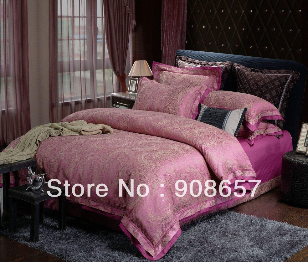 brown Europe rosy color prints tencel cotton fabric luxurious Jacquard bedding quilt/duvet covers for full/queen comforter sets(China (Mainland))