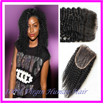 Ms Lula Virgin Brazilian Kinky Curly Closure Natural Color 1b 100% Human 4x4 Kinky Curly Lace Closure Bleached Knots Baby Hair