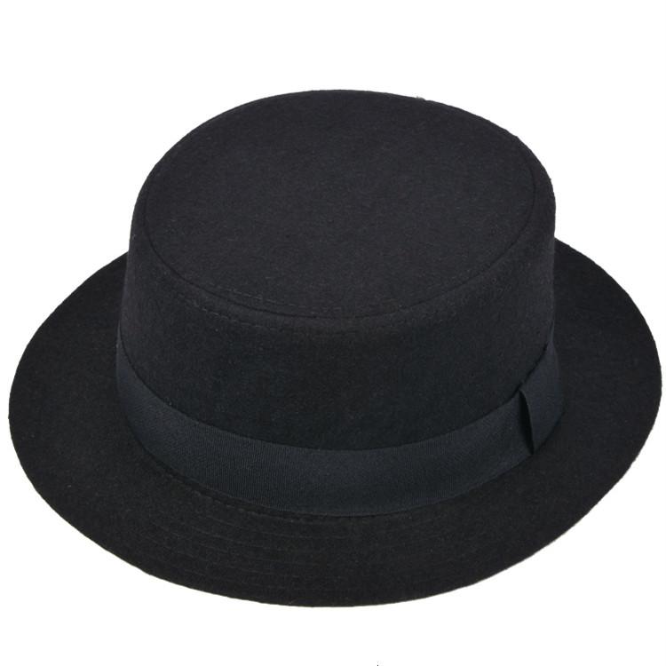 High Quality Wide Brim Fedora Men Black Jazz Hat Flat Brim Felt Cap Autumn Winter Trilby Wool Bowler Hats for Women Jewish Hat(China (Mainland))