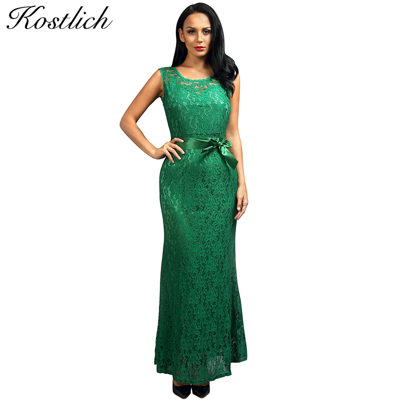 Kostlich Summer Women Long Dress 2016 UK Green Elegant Prom Fashion Casual Ladies Maxi Clothes Evening Party O-Neck Lace Dresses(China (Mainland))
