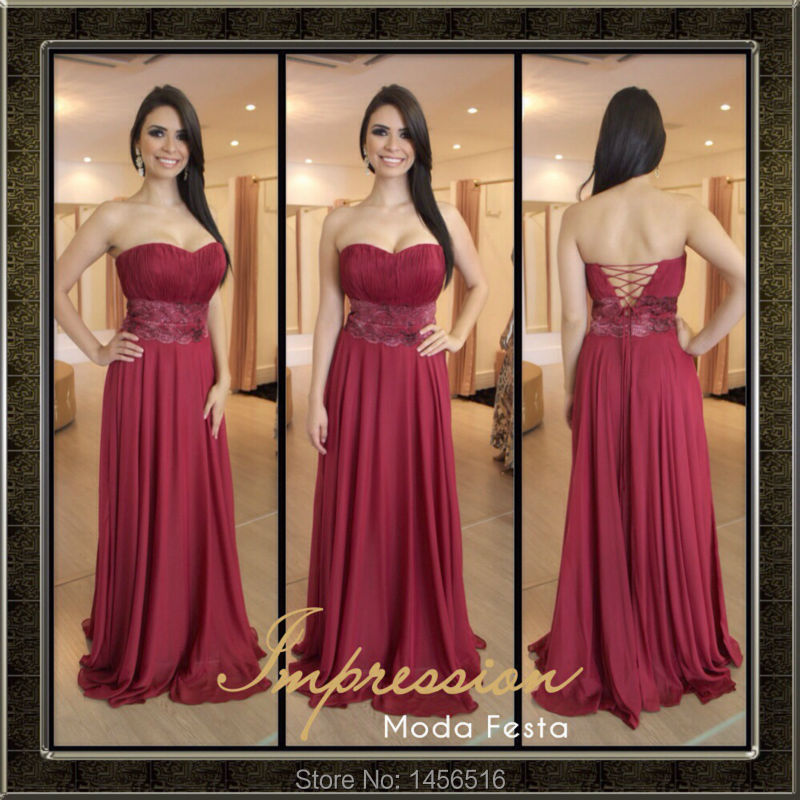 PRD-E163 Top selling Sweetheart neck Chiffon Lace up back a line evening dress(China (Mainland))