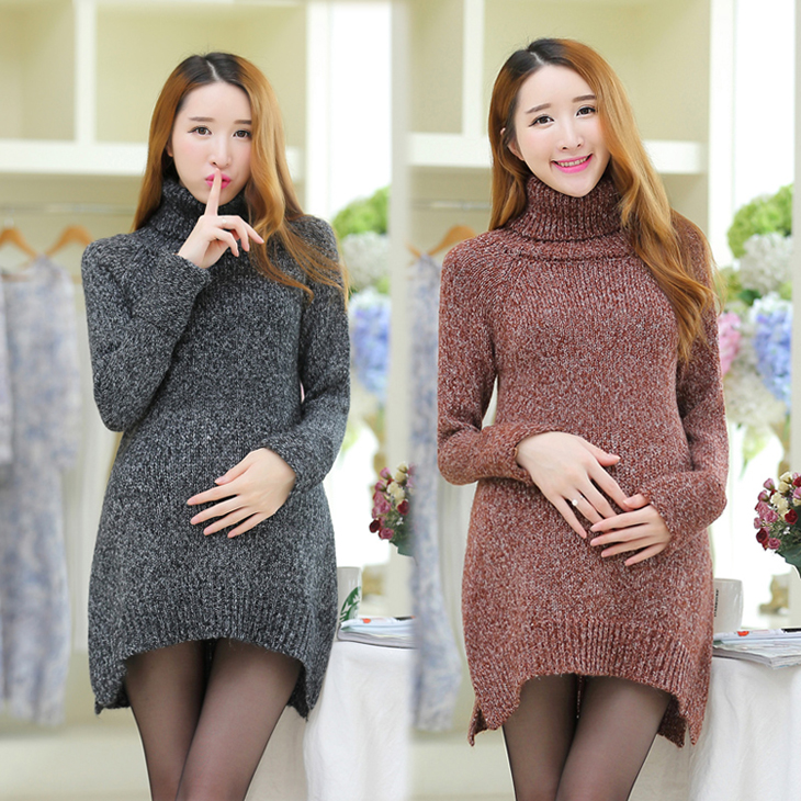 2016 maternity sweaters new winter Korean style female long render shirt pregnant women loose sweaters turtleneck pullover coats(China (Mainland))