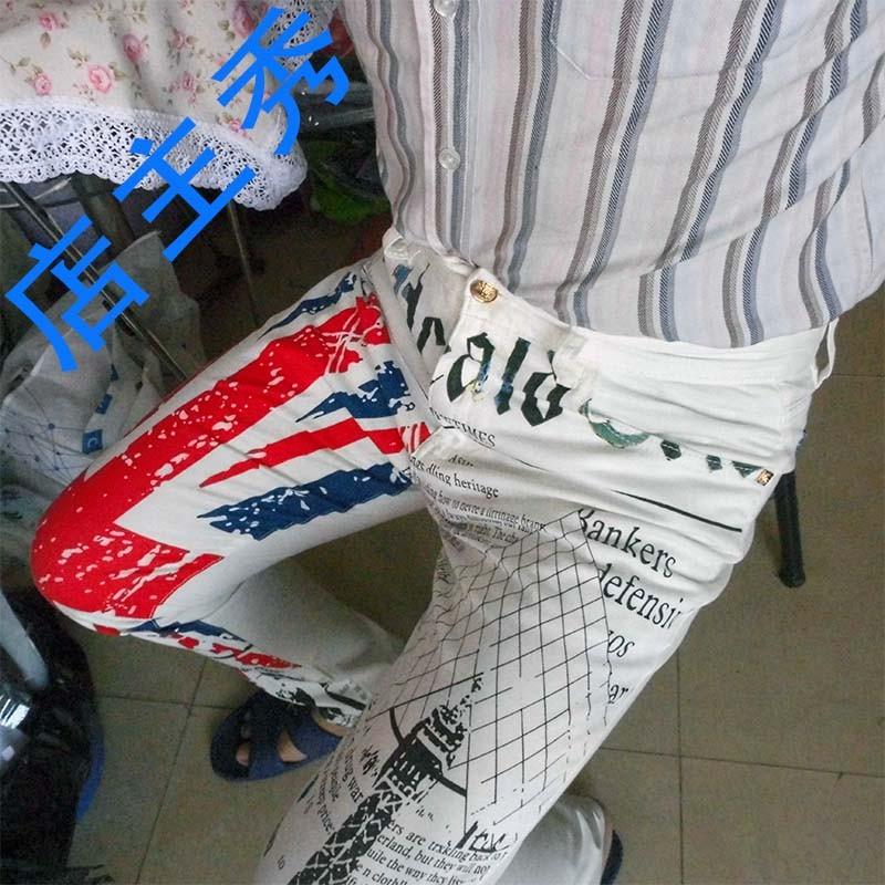Скидки на Мужская Британский Флаг Джинсы Брюки Цветной Рисунок Башня Отпечатано Мода Узкие Белые Джинсы Случайные Джинсы Стрейч Брюки MB573 Z10
