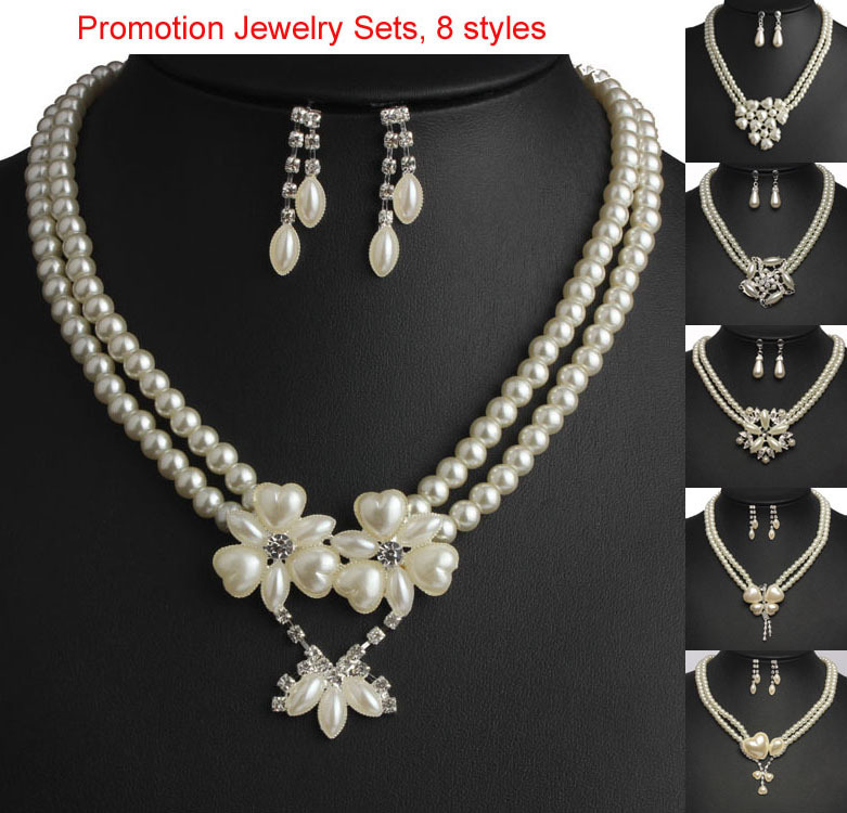 Trendy Imitation Pearl Jewelry Sets Women Heart Flower Butterfly Pendant Wedding Necklace Dangle Earrings Christmas Gifts md90(China (Mainland))