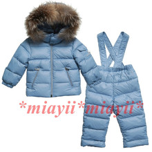 2016winter fashion high quality children's clothing down coat male ski suit set raccoon fur hot-selling
