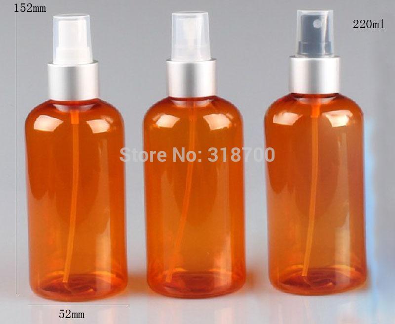 20 x 220ml Boston Round Orange Pet Perfume Bottle,220ccPet Mist Sprayer Bottle With Silver Clouser,220ml Plastic Container(China (Mainland))