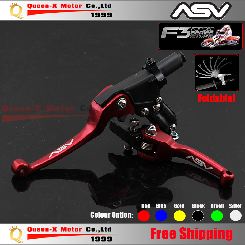 Free Shipping Aluminum CNC ASV F3 2ND Folding Clutch And Brake Lever For Dirt Bike/Pit Bike Spare Parts(China (Mainland))