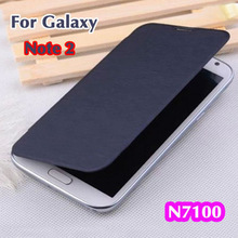 Original Flip Leather Cases Back Cover Battery Housing Case For Samsung Galaxy Note II 2 Note2 N7100 7100 Free shipping(China (Mainland))