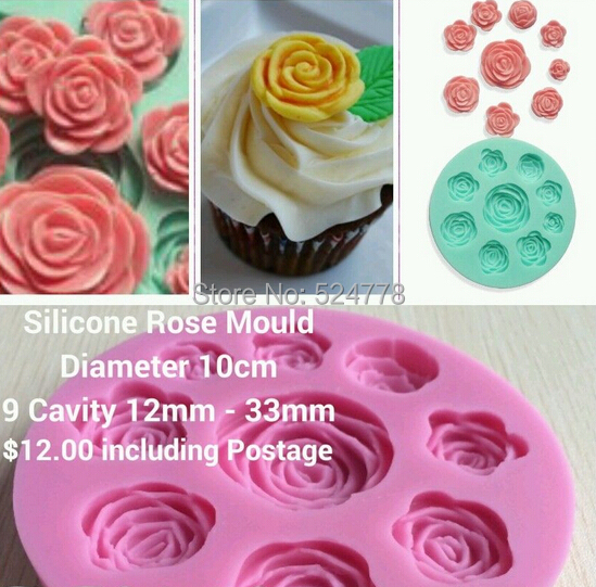 Rose Flower Fondant Cake Chocolate Resin Clay Candy Silicone Mold Mat,L9.7cm*W9.7cm*H1.3cm - Yongkang JoinHot Import&Export Co., Ltd. store