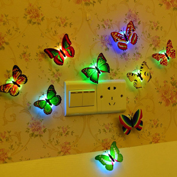 product 5pcs Flashing Colorful Butterfly night light baby bedside lights Indoor lighting decorations Party Decor Christmas Nightlights