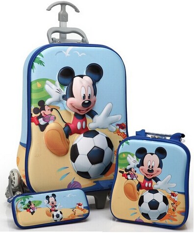 NEW 2014 children's school bags cartoon backpack Canvas Schoolbag kids best gift aluminum removable trolley school bags(China (Mainland))