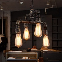 Retro Loft Style Metal Water Pipe Lamp Edison Pendant Light Fixtures Vintage Industrial Lighting For Dining Room Bar Hanging