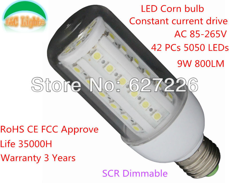 Free Shipping!Constant current drive Dimmable 9W LED Corn bulb, 42PCs 5050 LEDs,Warranty 3 Year,GAUGE COVER,10 PCs a Lot.(China (Mainland))