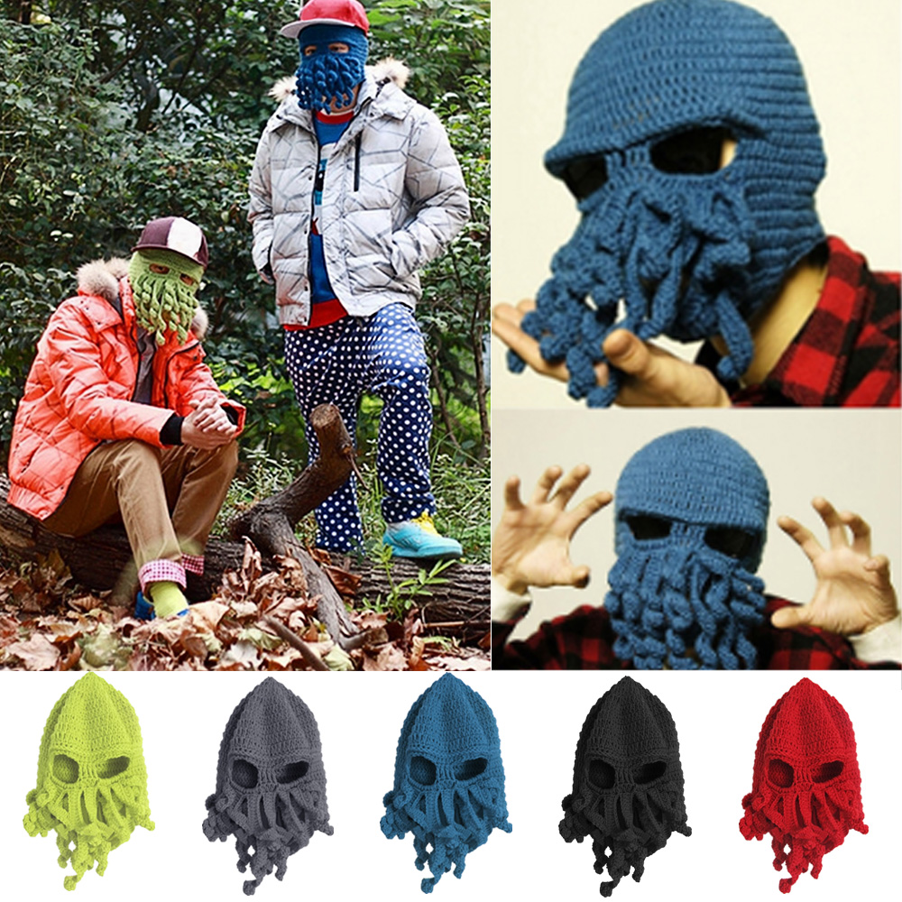 Unisex Kids Child Octopus Style Acrylic Fibers Winter Warm Knitting Face Mask Knitted Beard Squid Hat Cap for 3-8 Years Old Kids(China (Mainland))