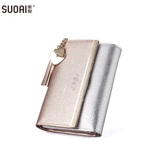 Buy SUOAI New Genuine Leather Wallet Women Long Purse Lady Fashion Wallets Dollar Price for $14.00 in AliExpress store