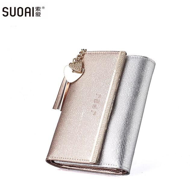 Suoai новый подлинный кожаный бумажник женщины длинный кошелек леди мода кошельки ...