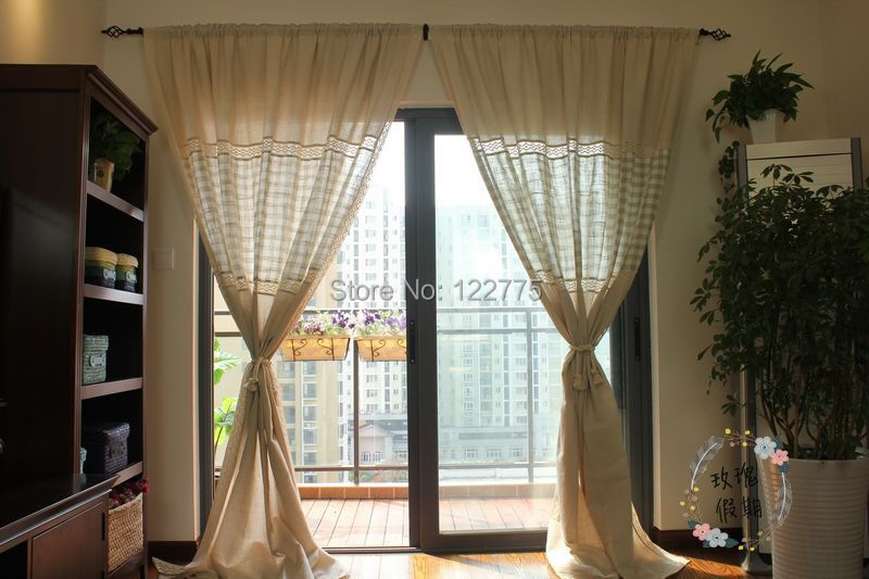 country style cotton linen crochet lace curtains for living room