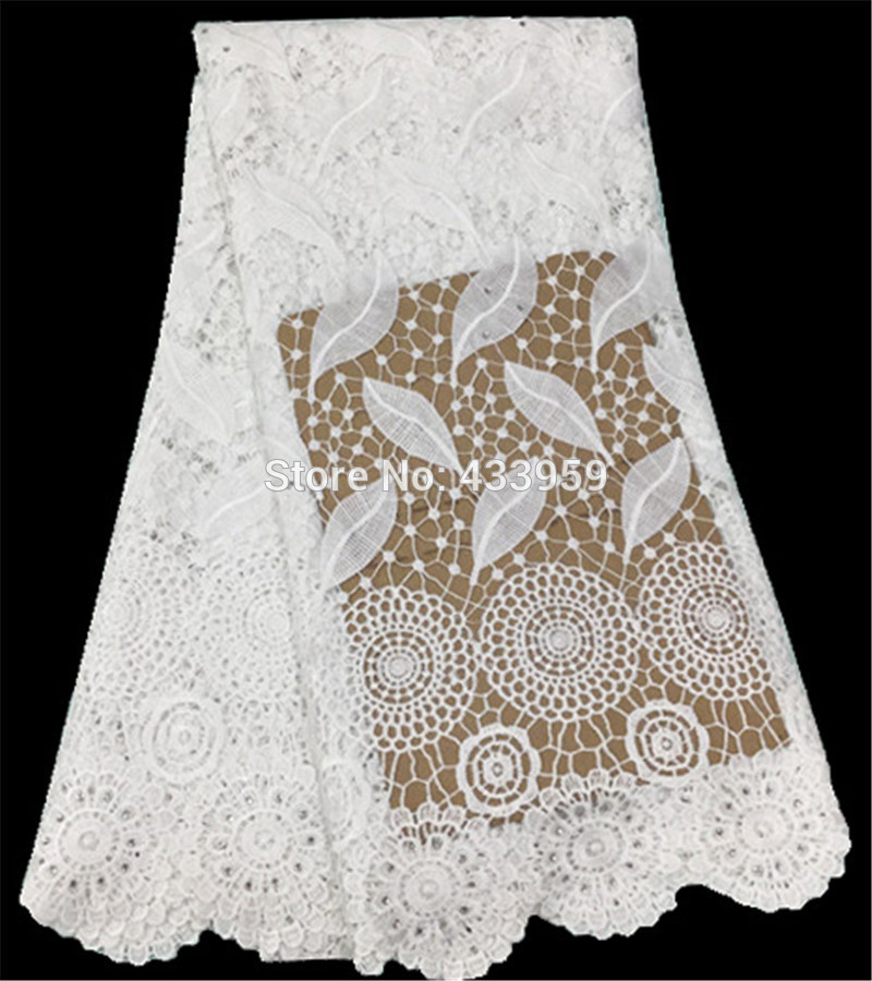 The New Listing Favourite Leaf Pattern Water Soluble Mesh Lace For Wedding Dress Best Quality Polyester African Cord Lace Fabric(China (Mainland))