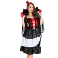 New Gothic Evil Vampires Costume Sexy Adult Halloween Cosplay Lace Patchwork Fancy Dress Devil Maleficent Witch