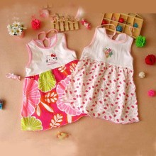Free Shipping Baby Dresses 1-2 years Girls Infant Cotton Clothing Dress Summer Clothes Printed Embroidery Girl Kidsetst