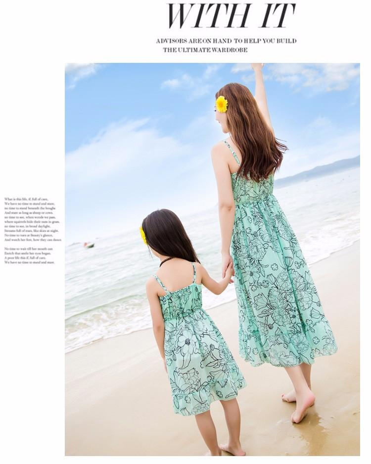 Скидки на Летнее платье 2016 мать и дочь одежда семья вид рукавов шифоновое платье белое кружево дети платья для девочек