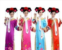 Plus Size Qing Dynasty Costume Chinese Traditional Princess Dress With Headrwear Chinese Folk  Dance Free Shipping
