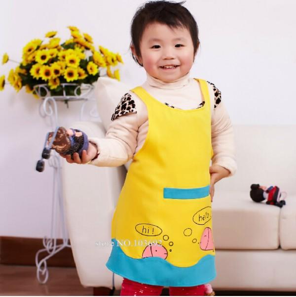 1pcs Cute Kids Children Kitchen Baking Painting Apron Baby Art Cooking Craft Apron Kids delantal cocina(China (Mainland))