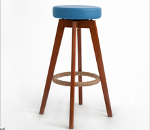 Wooden Swivel Bar Stools Modern Brown Finish Round Leather Foam Seat Backless Indoor Commerical Bar Furniture Chair   29-Inch(China (Mainland))