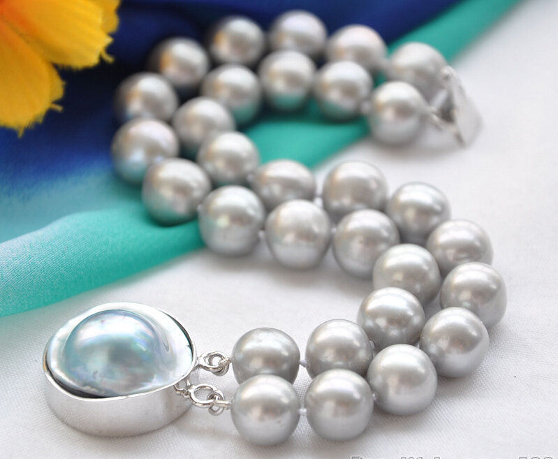 Free shipping@@@@@A++ 2row 8 12mm ROUND GRAY PEARL BRACELET MABE<br><br>Aliexpress