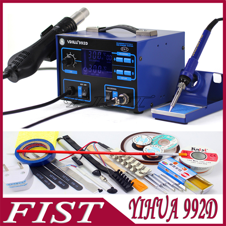 YIHUA 992D Lead-Free 2 in 1 SMD Hot Air Heat Gun Rework Solder Station + Soldering Iron Welding Repair With Free Gifts(China (Mainland))