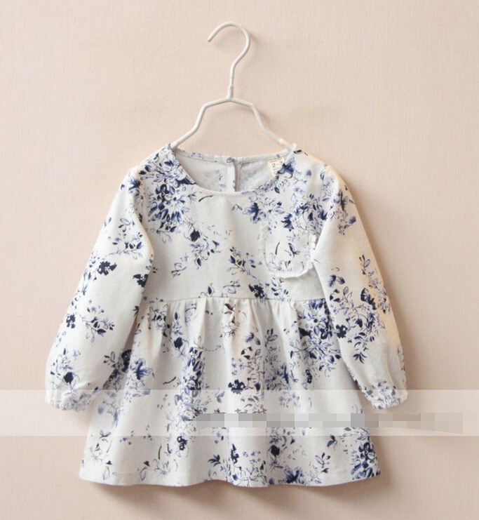 2016 New Childrens baby Long sleeve doll dress  girls Ink painting flowers cotton and linen dress wholesale<br><br>Aliexpress
