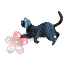 1pc new japan charms cat hairpins women hair jewelry acrylic stardust flower hair clips accessories barrettes cabelo
