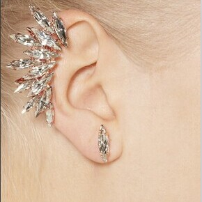 Fashion Ear Studs High Quility Beautiful 2 Style Clips Earrings For Women Unique Crystals Ear Cuff Earring Free Shipping E356