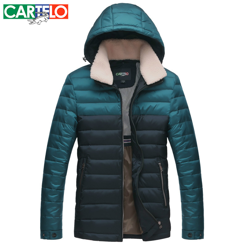 CARTELO Brand Autumn Winter Men's Casual Slim Thick Warm 90% Duck Down Jacket with Fur Collar(China (Mainland))
