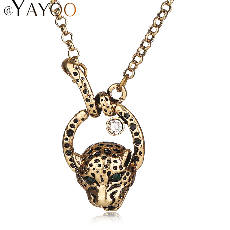 Women Statement Pendants Leopard Necklaces Chokers Trendy Gold Plated Bridal Jewelry Party Wedding Crystal Dress Accessories(China (Mainland))
