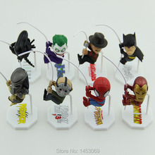Superheroes Q Version Spider-man Batman Alien Joker Predators Freddy Jason PVC Action Figure Toys Dolls 8pcs/set HRFG282(China (Mainland))
