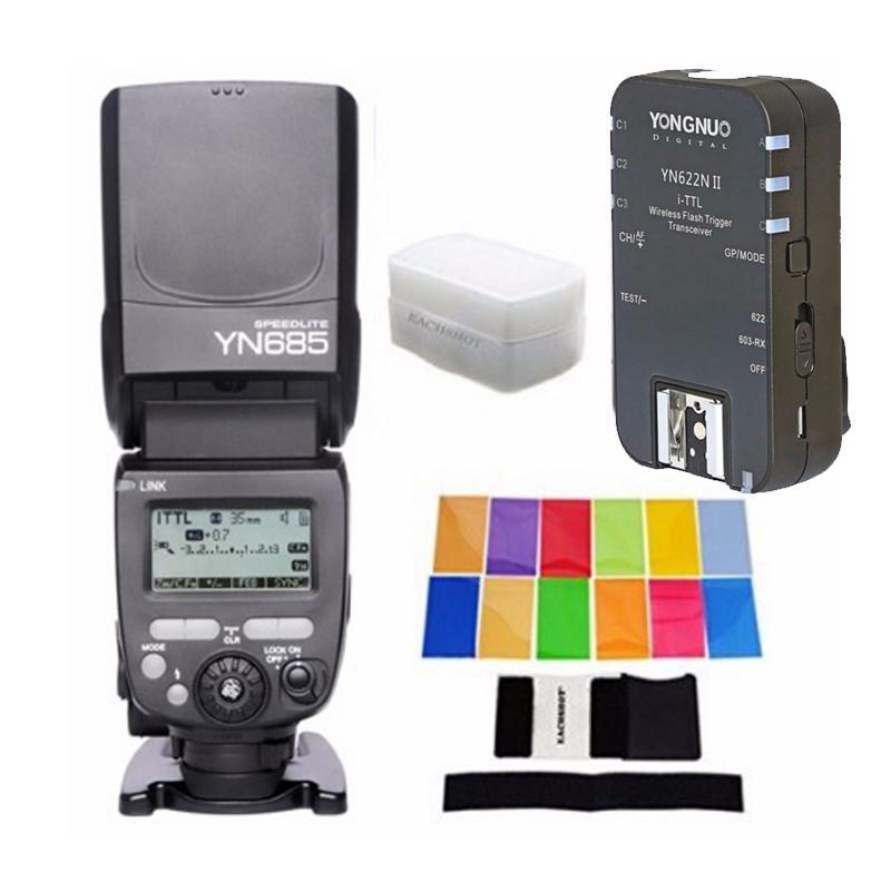YONGNUO YN685N YN685 Nikon HSS TTL Speedlite Flash Build Receiver YN622N II RX + 12 PCS COLOR CARD + DIFFUSER