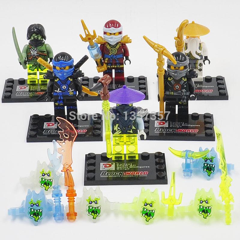 Wholesale Florescent Ninja Minifigures Jay/Cole/WU 60pcs/lot Super Heroes Building Blocks Sets Model Toys Figures